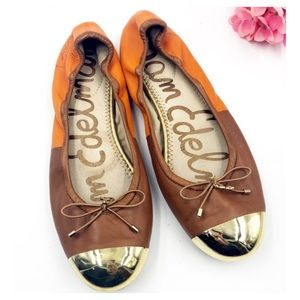 Sam Edelman | Burnt Orange & Gold Toed Flats W Bow